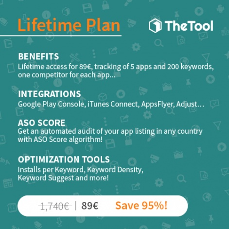 95% discount on app store optimisation service TheTool